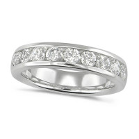 Platinum Ladies Classic 1ct Diamond Channel Set Half Eternity Ring
