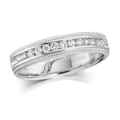 18ct White Gold Ladies Quarter Carat Channel Set Diamond Half Eternity Ring with Beaded Edges