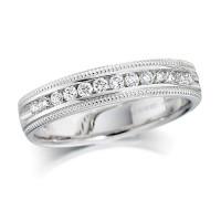 Platinum Ladies Quarter Carat Channel Set Diamond Half Eternity Ring with Beaded Edges
