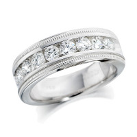 Platinum Ladies 1ct Channel Set Diamond Half Eternity Ring with Beaded Edges