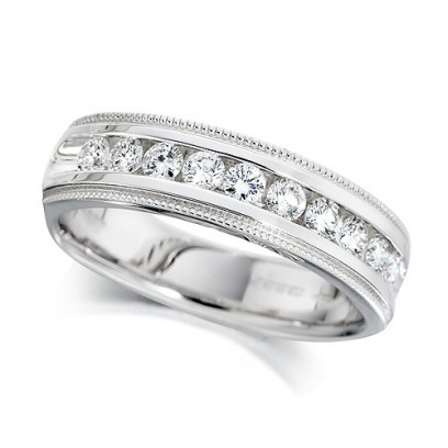 18ct White Gold Ladies Half Carat Channel Set Diamond Half Eternity Ring with Beaded Edges