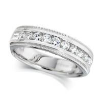 Platinum Ladies Half Carat Channel Set Diamond Half Eternity Ring with Beaded Edges