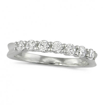 18ct White Gold Ladies Claw Set Half Eternity Ring Set With 0.50ct Of Diamonds