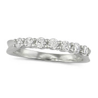 Platinum Ladies Claw Set Half Eternity Ring Set With 0.50ct Of Diamonds