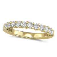18ct Yellow Gold Ladies Claw Set Half Eternity Ring Set With 0.75ct Of Diamonds