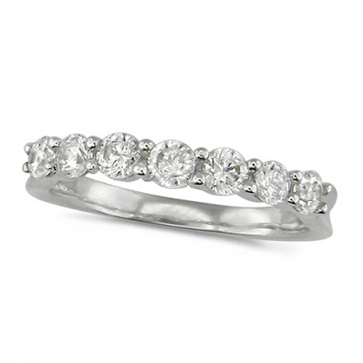 18ct White Gold Ladies Claw Set Half Eternity Ring Set With 0.75ct Of Diamonds