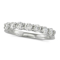 Platinum Ladies Claw Set Half Eternity Ring Set With 0.75ct Of Diamonds