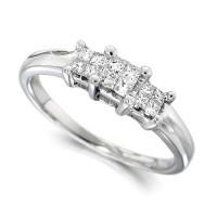 Platinum Ladies 0.25ct Princess Cut Diamond Engagement Ring