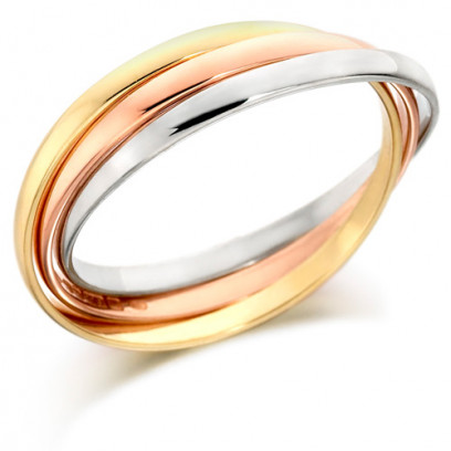 9ct 3 Colour Gold Ladies Russian Wedding Ring with 2mm Bands