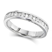 Palladium Ladies Half Eternity Ring  Set With 0.50ct Of Round And Baguette Cut Diamonds