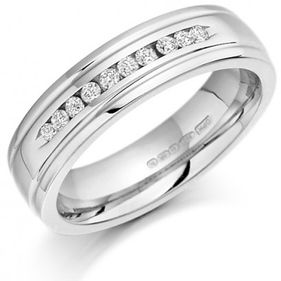 Palladium Ladies 5mm Wedding Ring with 10 Channel Set Diamonds and Grooved Edges Set with 15pts of Diamonds