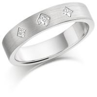Palladium Ladies 4mm Wedding Ring Set with 3 Princess Cut Diamonds in a Diamond Pattern, Total Weight 12pts
