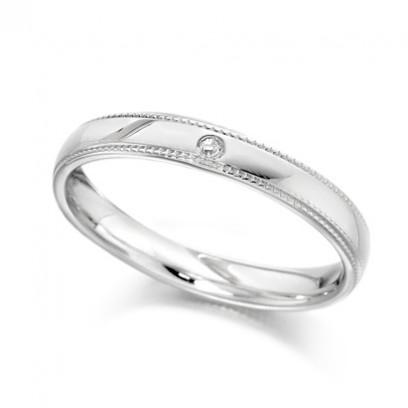Palladium Ladies 3mm Wedding Ring with Beaded Edges and Set with Single 1pt Diamond
