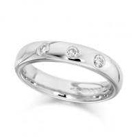 Palladium Ladies 4mm Wedding Ring Set with 3 Diamonds, Total Weight 0.15ct