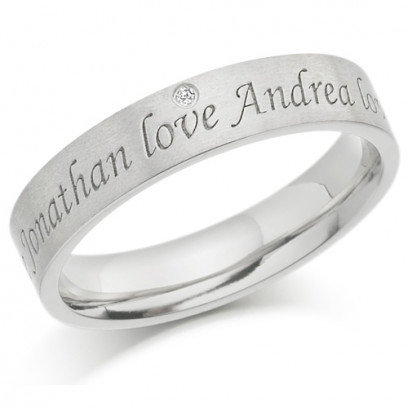 Palladium Ladies 4mm Ring with 2 Engraved Names and Set with 1pt Diamond