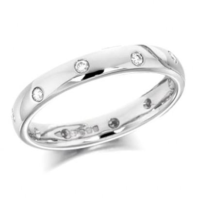 Palladium Ladies 3mm Wedding Ring with Alternate Set Diamonds All Around, Total Diamond Weight 15pts