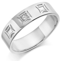 Palladium Gents 6mm Wedding Ring with 4pt Diamond Set in Square Box Pattern