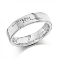 Palladium Gents 5mm Ring with L-Shape Pattern and Set with Single 5pt Princess Cut Diamond