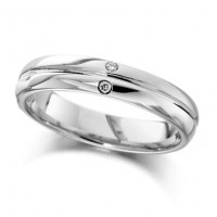 Palladium Ladies 4mm Wedding Ring with Grooved Centre and Set with 2 Diamonds, Total Weight 2pts
