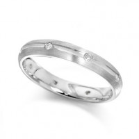 Palladium Ladies 4mm Wedding Ring with Centre Groove and Diamonds Evenly Spaced All Around, Set with a Total of 12pts of Diamonds