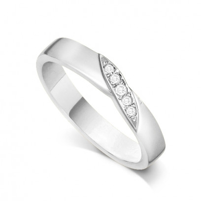 9ct White Gold Ladies 4mm Wedding Band Ring with a Diagonal Leaf Set with 0.05ct of Diamonds