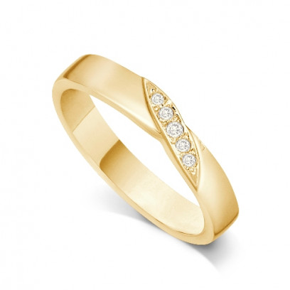 18ct Yellow Gold Ladies 4mm Wedding Band Ring with a Diagonal Leaf Set with 0.05ct of Diamonds