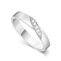 Palladium Ladies 4mm Wedding Band Ring with a Diagonal Leaf Set with 0.05ct of Diamonds