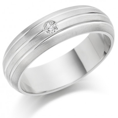 Gents 6mm 9ct White Gold Ring with 3 Parallel Lines and Set with a Single 5pt Round Diamond