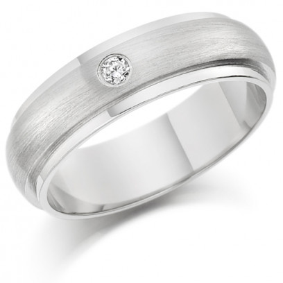 Gents 6mm 9ct White Gold Ring with Raised Frosted Centre and Shiny Edges  and Set with a Single 5pt Round Diamond