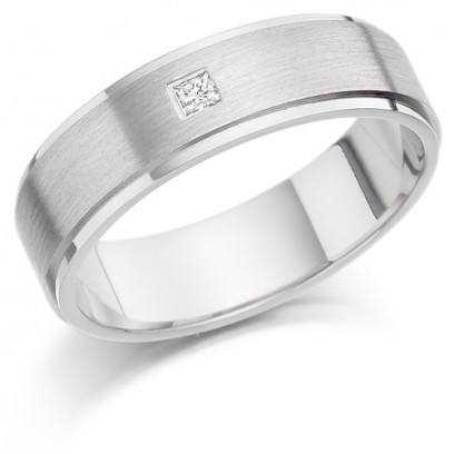 Gents 6mm 9ct White Gold Ring with Frosted Raised Centre and Shiny Edges and Set with a Single 5pt Princess Cut Diamond