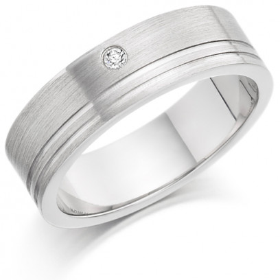 Gents 6mm 9ct White Gold Ring with 2 Shiny Grooves and Set with a Single 3pt Round Diamond