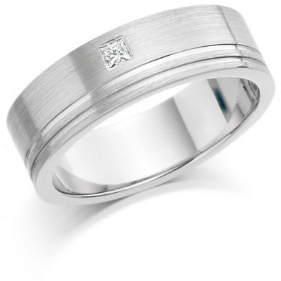 Gents 6mm 9ct White Gold Ring with 2 Shiny Grooves and Set with a Single 5pt Princess Cut Diamond