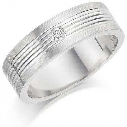 Gents 6mm 9ct White Gold Ring with Narrow Shiny Centre Grooves and Frosted Edges and Set with a Single 5pt Round Diamond