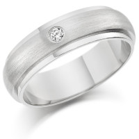 Gents 6mm 18ct White Gold Ring with Raised Frosted Centre and Shiny Edges  and Set with a Single 5pt Round Diamond