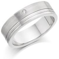 Gents 6mm 18ct White Gold Ring with 2 Shiny Grooves and Set with a Single 3pt Round Diamond