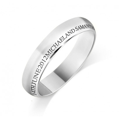 Personalised 9ct White Gold Ladies 4mm Court Shape Wedding Ring with any Continuous Engraving Around the side of the whole Wedding Ring