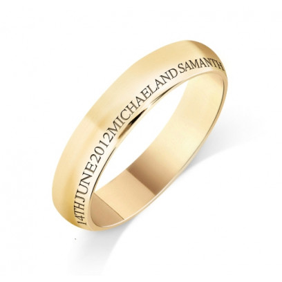 Personalised 18ct Yellow Gold Ladies 4mm Court Shape Wedding Ring with any Continuous Engraving Around the side of the whole Wedding Ring