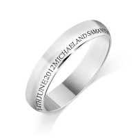 Personalised 18ct White Gold Ladies 4mm Court Shape Wedding Ring with any Continuous Engraving Around the side of the whole Wedding Ring