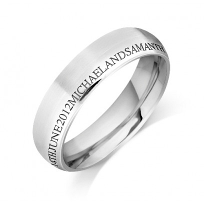 Personalised 18ct White Gold Gents 6mm Court Shape Wedding Ring with any Continuous Engraving Around the side of the whole Wedding Ring