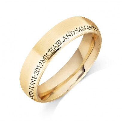 Personalised 18ct Yellow Gold Gents 6mm Court Shape Wedding Ring with any Continuous Engraving Around the side of the whole Wedding Ring