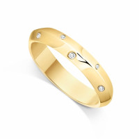 9ct Yellow Gold Ladies 4mm Convex Shaped Wedding Ring Set with 0.07ct of Diamonds in Zig-Zag with Court Shape inside