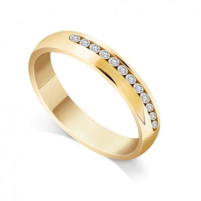 9ct Yellow Gold Ladies Court Shape Channel Set Diamond Wedding Ring Set with 0.240ct of 12 Round Diamonds