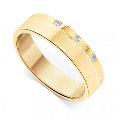 9ct Yellow Gold Gents Wedding Ring 3.4mm Flat Court Ring Set with 3-Diamonds in a Countersunk Groove on One Side
