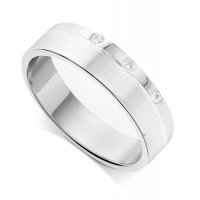 9ct White Gold Gents 3.4mm Flat Court Wedding Ring Set with 3-Diamonds in a Countersunk Groove on One Side