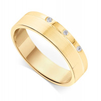 18ct Yellow Gold Gents 3.4mm Flat Court Wedding Ring Set with 3-Diamonds in a Countersunk Groove on One Side