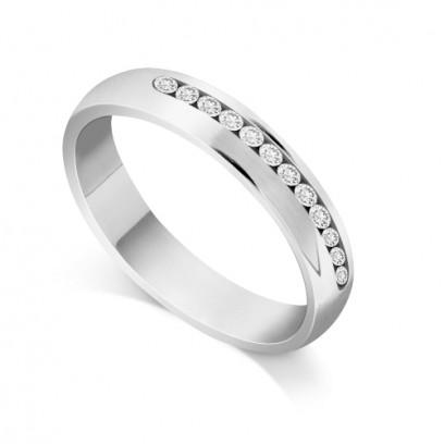 18ct White Gold Ladies Court Shape Channel Set Diamond Wedding Ring Set with 0.240ct of 12 Round Diamonds