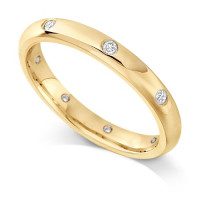 9ct Yellow Gold Ladies Rubover Set Wedding Band Set with 0.160ct of Diamonds Spaced around the ring