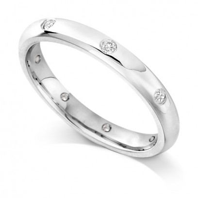 9ct White Gold Ladies Rubover Set Wedding Band Set with 0.160ct of Diamonds Spaced around the ring