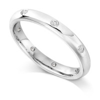 Palladium Ladies Rubover Set Wedding Band Set with 0.160ct of Diamonds Spaced around the ring