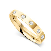 9ct Yellow Gold Ladies 3mm Flat Court Wedding Band Set with 0.075ct of Diamonds on Top of Band